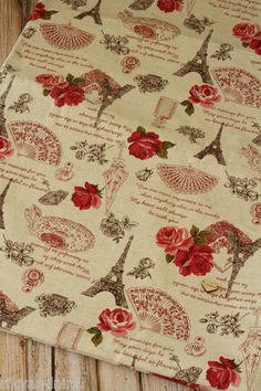 zakka shabby chic VINTAGE ROSE & EIFFEL Japanese Cotton Linen blend fabric 1/4yd, £6.50