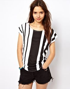 Image 1 of River Island Vertical Stripe Tee