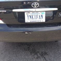 Obviously a Yankee Fan Yankees Fan, New York Yankees, Vanity License Plates, Vanity Plate, Babe Ruth, Baseball Cards, Tags, Mailing Labels