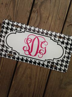 Monogram License Plate Tag Chevron Houndstooth Personalized Monogrammed Initials by Chickadee's Designs
