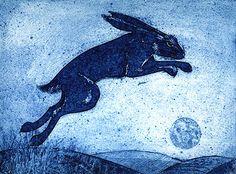 Leaping Hare, a collagraph print by Kerry Buck Rabbit Illustration, Illustration Art, Bunny Jump, Year Of The Rabbit, Mystical World, Rabbit Tattoos, Dad Tattoos, Blue Bunny, Rabbit Art