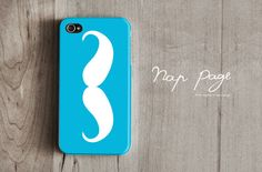 Blue and white moustache iPhone case