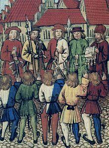 L'adunanza cittadina di Zurigo del 1º maggio 1351; le guardie impugnano alabarde ed azze ( Wikipedia ).