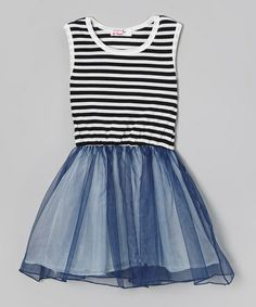 Look at this #zulilyfind! Black & White Stripe Tutu Dress - Toddler & Girls #zulilyfinds