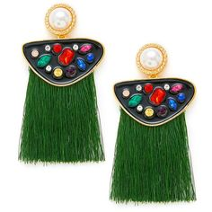 SheIn(sheinside) Rhinestone Top Fringe Drop Earrings (30 HRK) ❤ liked on Polyvore featuring jewelry, earrings, dangling jewelry, green earrings, fringe earrings, green dangle earrings and rhinestone jewelry