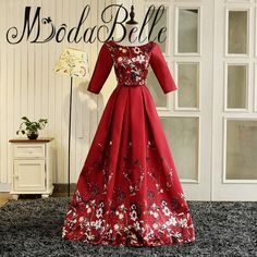 >> Click to Buy << modabelle Burgundy Prom Dresses Half Sleeves Abaya Designs Dubai Real Images Floral Evening Gown Robe De Soiree 2017 #Affiliate