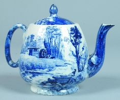 209: Shelley China Blue Delft pattern Teapot with Lid, : Lot 209