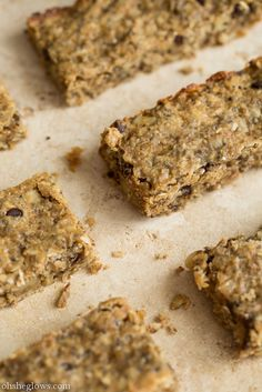 Banana Bread Protein Bars from ohsheglows. For nut allergies: sub sun butter for peanut butter, omit walnuts