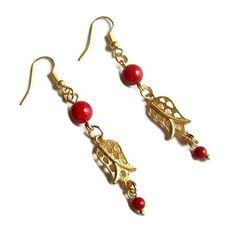 Coral Earrings  Handmade Earrings  Tulip Earrings by GULDENTAKI, $14.00