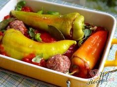 Plněná paprika a rajská omáčka Kefir, Stuffed Peppers, Baking, Vegetables, Kitchen, Recipes, Kitchens, Mascarpone, Czech Recipes
