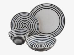 IKE BLACK Stoneware Black and white striped cereal bowl D15cm - HabitatUK