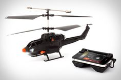 Works with iPhone. Control 3 helicopters at once, & create memorized flight plans so the chopper can navigate itself around your house via 3 different routes.