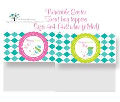 Cute Easter Bunny Treat Bag Toppers Printable by TheLovelyMemories, $5.00