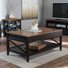Belham Living Hampton Lift Top Coffee Table - Black/oak