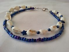 BOHO Natural Seashell and Blue Howlite Star Anklet by TrinkedOut   Really very pretty, glad I bought it :-)