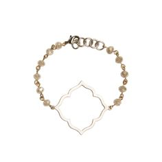 Silver Octagon Cutout on Khaki Beaded Bracelet - Beaucoup Designs Silhouette Collection features time proven shapes combined with beads, pearls, chains and leather. #festivalstyle #ss2016 #beadedjewelry #jewelry