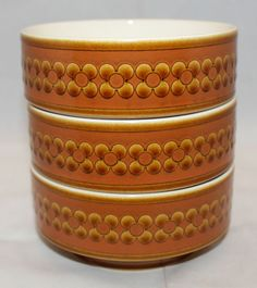 Set of 3 Vintage Hornsea Saffron Cereal Soup Bowl England Brown Flowers Retro #Hornsea