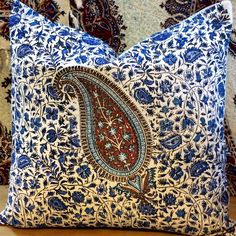 Excited to share the latest addition to my #etsy shop: Decorative blue paisley pillow, quality handprinted Cushion, Cotton and linen pillow