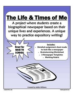 A fun and easy to do activity with your students for Back-to-School or as a writing assignment.  Students create a newspaper all about themselves - fun expository writing practice! Repinned by SOS Inc. Resources @sostherapy.