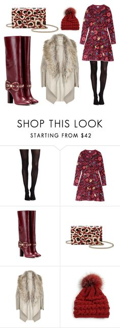 """Winter Marsala"" by leiastyle on Polyvore featuring SPANX, Kenzo, Tory Burch, Gucci, River Island, Inverni, floral, oxblood and sweaterdress"