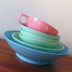 Vintage Boontonware Melamine Dish Set - LOVE