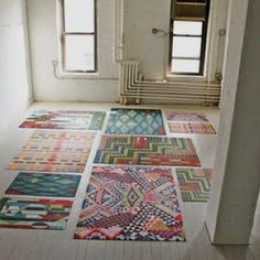 patchwork of rugs. Design*Sponge Interview and Studio Tour with Domestic Construction Unique Flooring, Stone Flooring, Concrete Floors, Flooring Ideas, Rubber Flooring, Vinyl Flooring, Penny Flooring, White Flooring, Garage Flooring