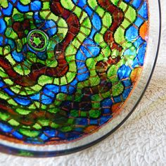 RichanaDragon ||| Stained glass PEDESTAL BOWL decorated in nautical style with sea waves pattern in green and blue colors. Hand painted candle holder for tealight. A beautiful element of home decor and great Housewarming gift idea.