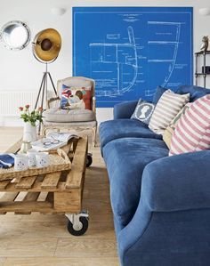 Coastal-inspired Living Room with Blue Feature Sofa