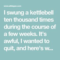 I swung a kettlebell ten thousand times during the course of a few weeks. It's awful, I wanted to quit, and here's why I'd do it again. Dumbbell Ab Workout, Kettlebell Challenge, Kettlebell Training, Kettlebell Swings, Kettlebell Routines, Workout Diet, Training Workouts, Exercise Routines, Body Workouts