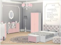 A set of furniture, decor and construction objects for the bedroom of a young girl in a gentle French style.  Found in TSR Category 'Sims 4 Adult Bedroom Sets'