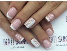 Bluesky Shellac, Bridal nails, Elegant nails, Festive French nails, French manicure, French manicure with pattern, French manicure with rhinestones, Glamorous nails