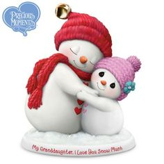 A limited-edition FIRST! Precious Moments® handcrafted snowman figurine celebrates granddaughters with glitter, a real jingle bell and more. Cute Snowman, Christmas Snowman, Christmas Crafts, Christmas Ornaments, Snowmen, Polymer Clay Ornaments, Polymer Clay Crafts, Diy Xmas, Christmas Cake Decorations