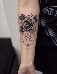 Geometric and Flower tattoo