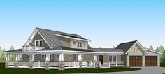 Plan 18286BE: Country Home with Wraparound Porch and 2 Balconies