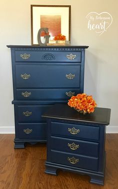 Miss Mustard Seed Milk Paint in Artissimo Blue with MMS hemp oil finish. General Finishes Java Gel Stain.