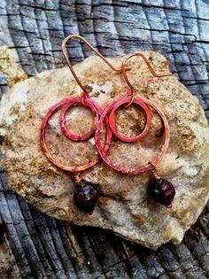 Metalwork earrings medium size double hoop by TheBeadedPaths, $24.00