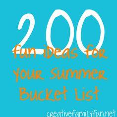 200 Fun Ideas for Your Summer Bucket List ~ Creative Family Fun