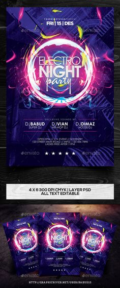 Electro Night Party Flyer Template Vol. 2 — Photoshop PSD #guest dj #creative • Available here → https://graphicriver.net/item/electro-night-party-flyer-template-vol-2/9840673?ref=pxcr