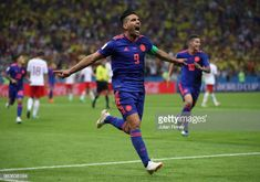 Radamel Falcao of Columbia celebrates scoring his teams second goal during the 2018 FIFA World Cup Russia group H match between Poland and Colombia. Carlos Valderrama, Fifa World Cup, Poland, Russia, Soccer, Goals, Group, Celebrities, Sports