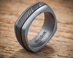 Damascus Stainless Steel Square Men's Wedding Band Black Center Pattern Ring