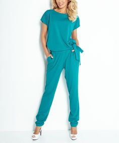 Loving this Green Side-Tie Back-Cutout Jumpsuit on #zulily! #zulilyfinds