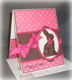 Pink Chocolate Easter Bunny  Handmade card  Stampin' Up!