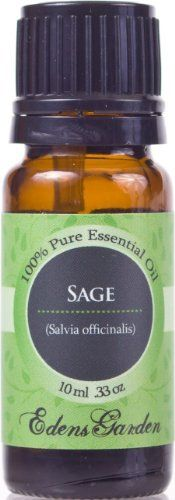 Sage 100% Pure Therapeutic Grade Essential Oil- 10 ml by Edens Garden. $7.95. Plant Part: Leaves * Extraction Method: Steam Distilled * Origin: Bulgaria * Description: Salvia officinalis from the Ladiatae family is also known as 'garden', 'true' and 'Dalmatian' sage. Common sage is an evergreen perennial herb that can grow up to about 60cm (2 feet) high with a woody base, soft gray-green oval leaves and a mass of blue or violet flowers. * Color: Pale yellow to greenish yellow...