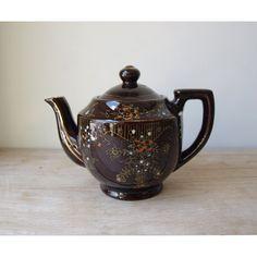 teapots | Vintage Deep Brown Hand Painted Teapot by JustSmashingDarling