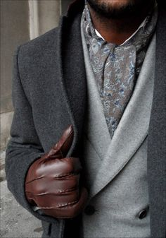 Wool Polymide Cashmere Gray Overcoat, Dove Grey Wool Shawl Collar Jacket, Paisley Scarf, & Brown Leather Gloves. Men's Fall Winter Fashion.