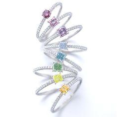 Diamond and Gemstone Colorful Rainbow Rings - Gallery | gimel -ギメル- (=)
