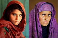 17 Years Difference. The single most piercing stare and one of the most visually powerful photographs taken. Ever. Good guy Nat. Geo and the photgrapher went out and found her again (but now her eyes are a little sadder or just more serious, which is sad.cool purple burka though, Gula)
