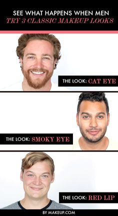 We asked 3 guys to attempt a few classic beauty looks! Wait till you see how the cat eye, smoky eye and red lip turned out!