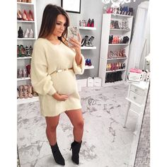 The cutest & softest sweater dress there is! _ _ Sweater dress: - The cutest & softest sweater dress there is! Maternity Sweater Dress, Cute Maternity Outfits, Stylish Maternity, Pregnancy Outfits, Mom Outfits, Maternity Wear, Pregnancy Looks, Maternity Fashion, Maternity Dresses