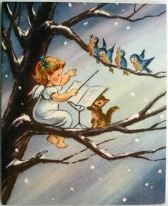 #358 50s Norcross Angel Bird Conductor! Vintage Christmas Greeting Card